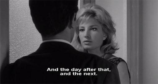 De laatste keer dat Piero en Vittoria elkaar zien in L'eclisse.