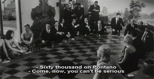 Een spontaan partijtje gokken: komt de schijf op zwart of op wit? Fragment uit La notte (1962).