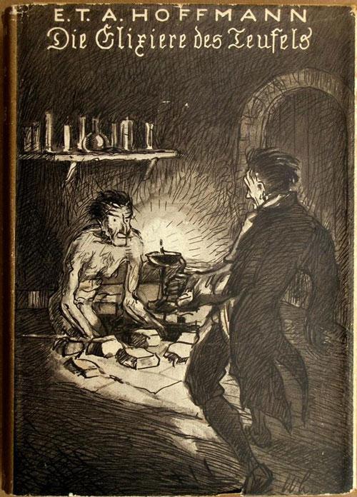Boekomslag van 'Die Elixiere des Teufels', waarin broeder Menardus zijn dubbelganger ontmoet.