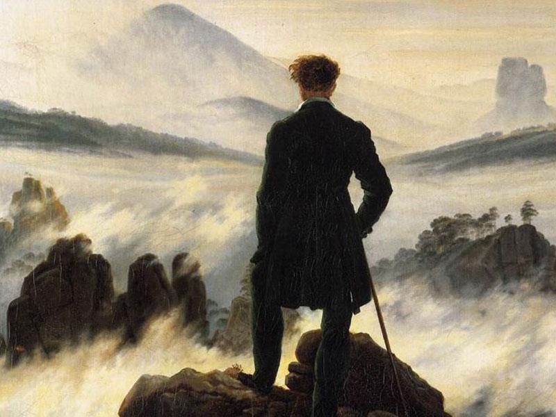 Der Wanderer über dem Nebelmeer van Caspar David Friedrich