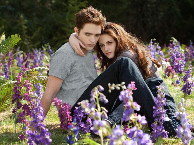 Edward en Bella in een bloemenveld