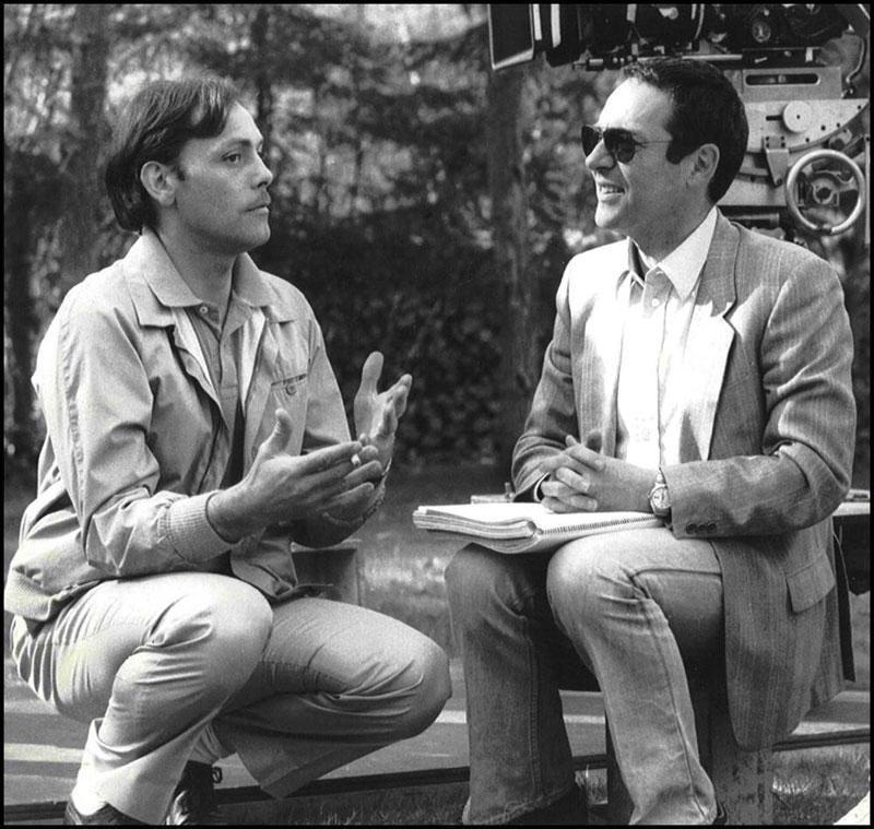 Filmmaker Alain Jessua (rechts) in een onderonsje met de vroeggestorven acteur Patrick Dewaere